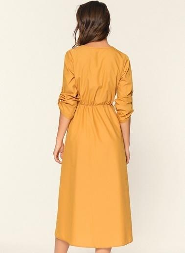 Loves You Düğme Detaylı Poplin Gömlek Elbise Hardal